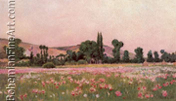 Theodore Wendel, Flowering Fields , Giverny Fine Art Reproduction Oil Painting