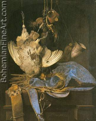 Willem van Aelst, Still Life with Hunting Equipment and Dead Birds Fine Art Reproduction Oil Painting