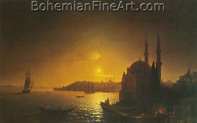 Ivan Konstantinovich Aivazovsky, View of Constantinople by Moonlight Fine Art Reproduction Oil Painting