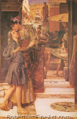 Sir Lawrence Alma-Tadema, The Parting Kiss Fine Art Reproduction Oil Painting