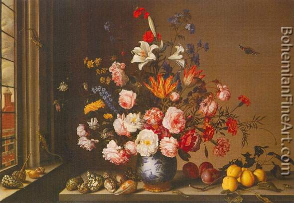 Balthazar van der Ast, Vase of Flowers by a Window Fine Art Reproduction Oil Painting