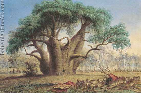 John Thomas Baines, Gouty Stem Tree, Victoria River Fine Art Reproduction Oil Painting