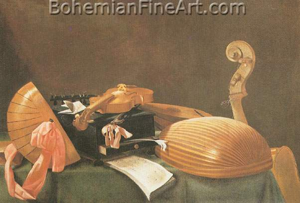 Evaristo Baschenis, Still Life with Musical Instruments Fine Art Reproduction Oil Painting