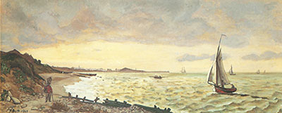 Frederic Bazille, The Beach at St Adresse Fine Art Reproduction Oil Painting