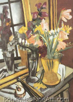 Max Beckmann, Still Life with Violet Dahlias Fine Art Reproduction Oil Painting