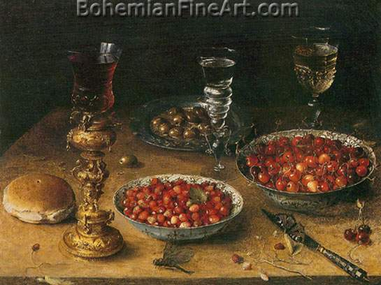 Osias Beert, Still Life with Cherries and Strawberries Fine Art Reproduction Oil Painting