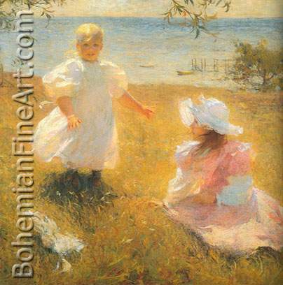 Frank W. Benson, The Sisters Fine Art Reproduction Oil Painting