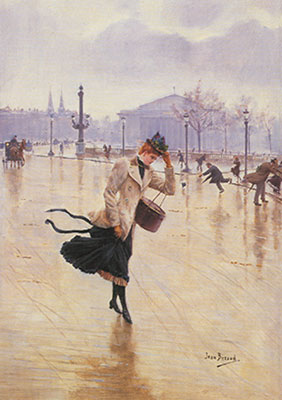 Jean Beraud, Windy Day+ Place de la Concorde Fine Art Reproduction Oil Painting