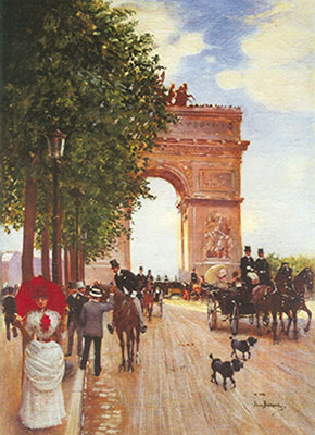 Jean Beraud, Arc de Triomphe, Champs-Elysees Fine Art Reproduction Oil Painting