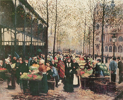 Jean Beraud, Les Halles Fine Art Reproduction Oil Painting