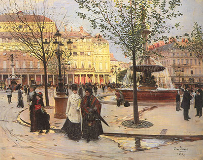 Jean Beraud, Outside the Theatre-Francais Fine Art Reproduction Oil Painting