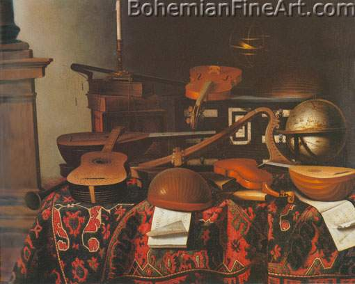 Bartolomeo Bettera, Musical Instruments on a Table Fine Art Reproduction Oil Painting