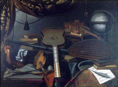 Bartolomeo Bettera, Still Life with Musical Instruments Fine Art Reproduction Oil Painting