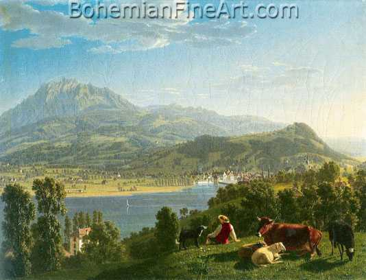 Johann Jakob Biedermann, View of Lucerne Fine Art Reproduction Oil Painting