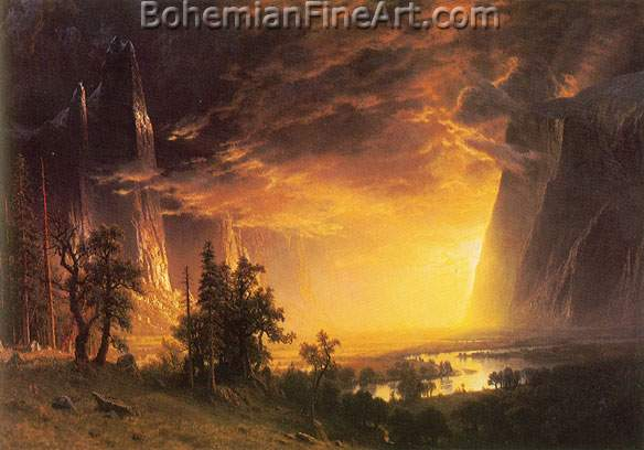 Albert Bierstadt, Sunset in the Yosemite Valley Fine Art Reproduction Oil Painting