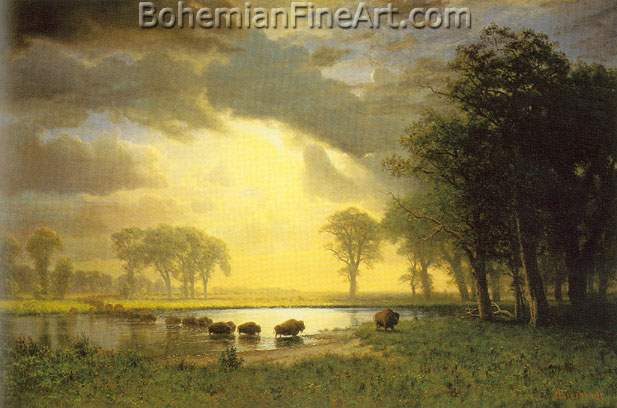 Albert Bierstadt, The Buffalo Trail Fine Art Reproduction Oil Painting