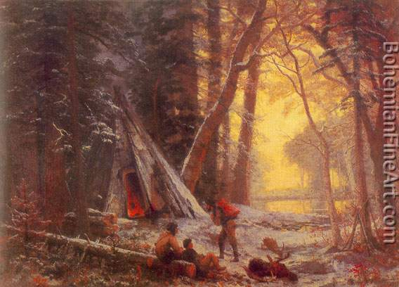 Albert Bierstadt, Moose Hunters Camp+ Nova Scoti Fine Art Reproduction Oil Painting