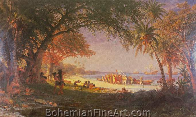 Albert Bierstadt, The Landing of Columbus Fine Art Reproduction Oil Painting