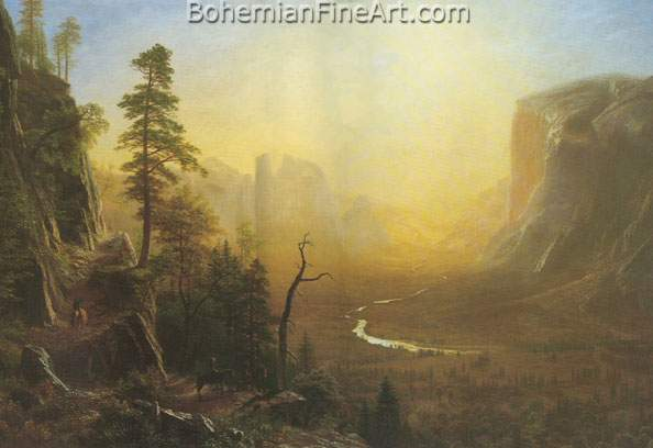 Albert Bierstadt, Yosemite Valley+ Glacier Point Trail Fine Art Reproduction Oil Painting