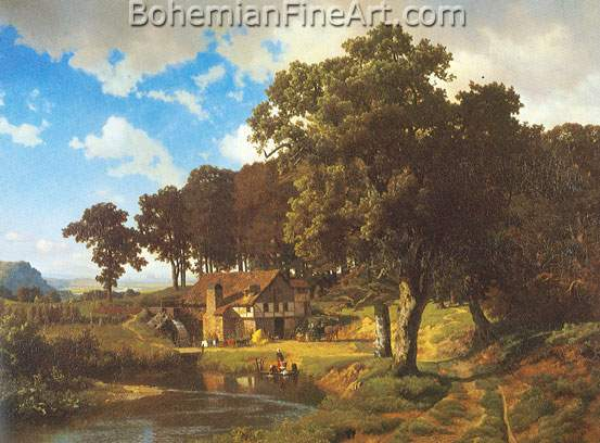 Albert Bierstadt, A Rustic Mill Fine Art Reproduction Oil Painting