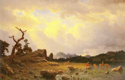 Albert Bierstadt, Thunderstorm in the Rocky Mountains Fine Art Reproduction Oil Painting