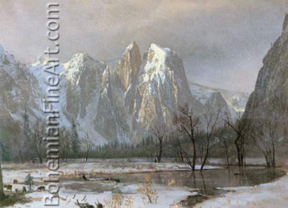 Albert Bierstadt, Cathedral Rocks+ Yosemite Valley+ California Fine Art Reproduction Oil Painting