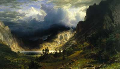 Albert Bierstadt, Storm in the Rocky Mountains - Mt Rosalie Fine Art Reproduction Oil Painting