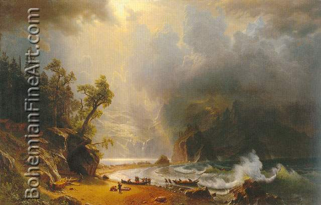 Albert Bierstadt, Puget sound on the Pacific Coast Fine Art Reproduction Oil Painting