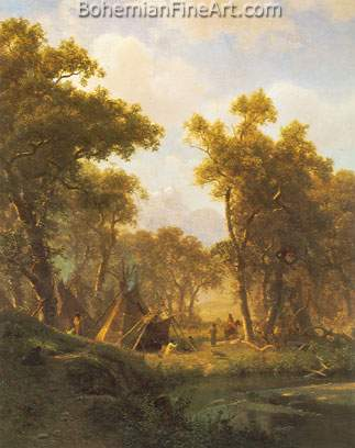 Albert Bierstadt, Indian Encampment, Shoshone Village Fine Art Reproduction Oil Painting