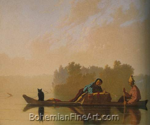 George Caleb Bingham, Fur Traders Descending the Missouri Fine Art Reproduction Oil Painting