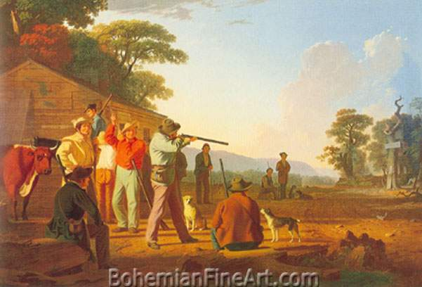 George Caleb Bingham, Shooting for the Beef Fine Art Reproduction Oil Painting