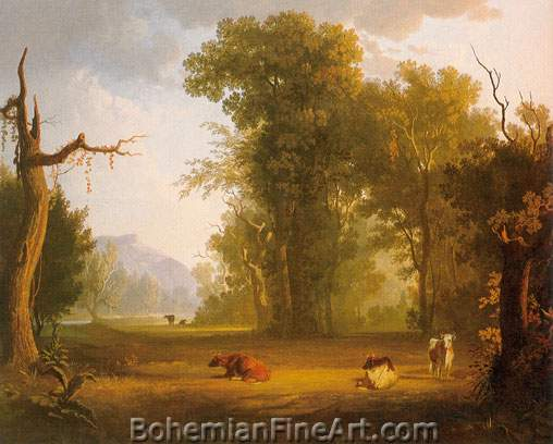 George Caleb Bingham, Landscape with Cattle Fine Art Reproduction Oil Painting