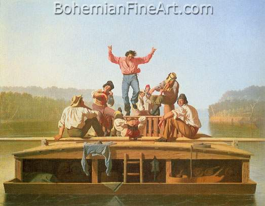 George Caleb Bingham, The Jolly Flatboatmen Fine Art Reproduction Oil Painting
