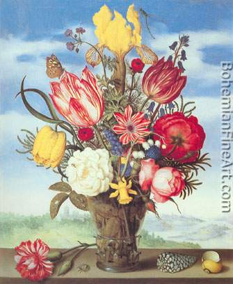 Ambrosius Bosschaert the Elder, Bouquet of Flowers on a Ledge Fine Art Reproduction Oil Painting