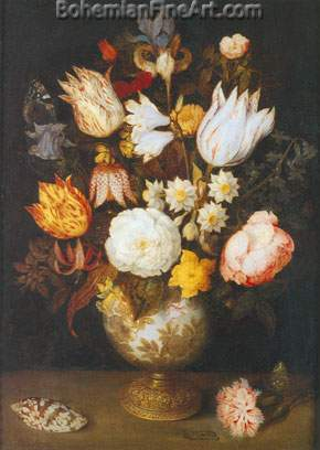 Ambrosius Bosschaert the Elder, Vase of Flowers Fine Art Reproduction Oil Painting