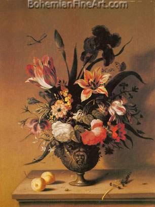 Ambrosius Bosschaert the Younger, Flowers in a Bronze Vase Fine Art Reproduction Oil Painting