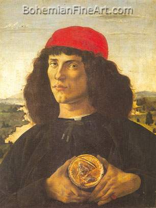 Sandro Botticelli, Portrait of a Man Holding a Medallion Fine Art Reproduction Oil Painting