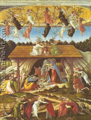 Sandro Botticelli, The Mystical Nativity Fine Art Reproduction Oil Painting