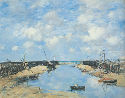 Eugene Boudin, Trouville+ the Jetties at Low Tide Fine Art Reproduction Oil Painting