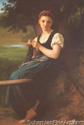 Adolphe-William Bouguereau, The Knitting Girl Fine Art Reproduction Oil Painting