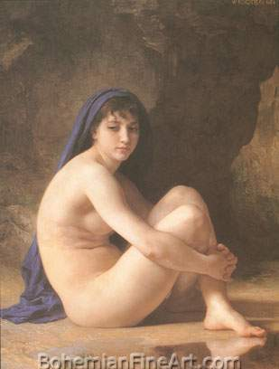 Adolphe-William Bouguereau, Seated Nude Fine Art Reproduction Oil Painting