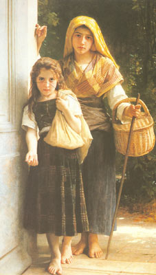 Adolphe-William Bouguereau, The Little Beggar Girls Fine Art Reproduction Oil Painting