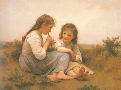 Adolphe-William Bouguereau, Childhood Idyll Fine Art Reproduction Oil Painting