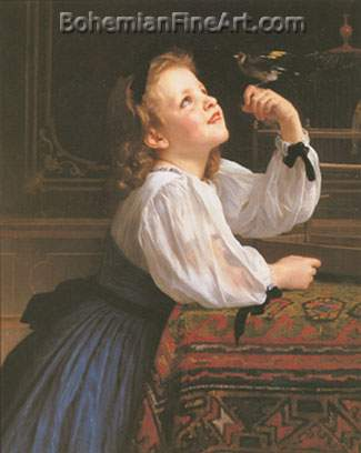 Adolphe-William Bouguereau, The Pet Bird Fine Art Reproduction Oil Painting
