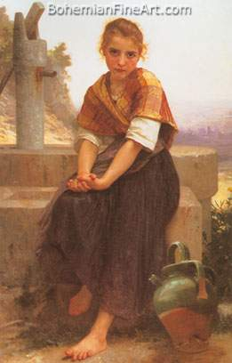 Adolphe-William Bouguereau, The Broken Pitcher Fine Art Reproduction Oil Painting
