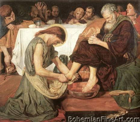 Ford Maddox Brown, Christ Washing Peter's Feet Fine Art Reproduction Oil Painting