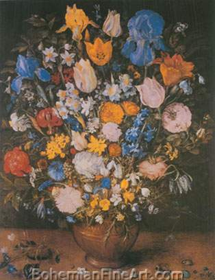 Jan Brueghel the Elder, Bouquet in a Clay Vase Fine Art Reproduction Oil Painting