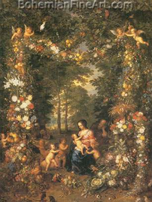 Jan Brueghel the Elder, Holy Family in a Flower and Fruit Wreath Fine Art Reproduction Oil Painting