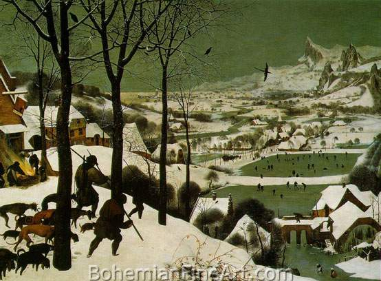 Pieter Bruegel the Elder, The Hunters in the Snow Fine Art Reproduction Oil Painting