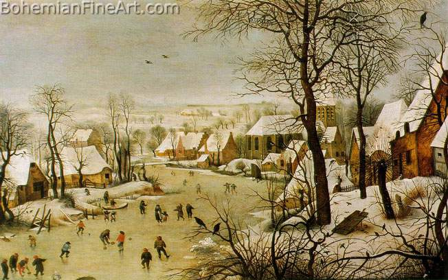 Pieter Bruegel the Elder, Winter Landscape with a Bird Trap Fine Art Reproduction Oil Painting